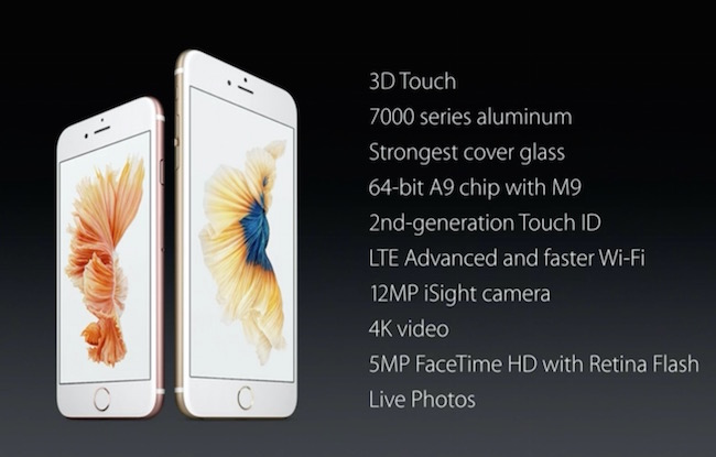 iPhone 6s and 6s plus technical specifications