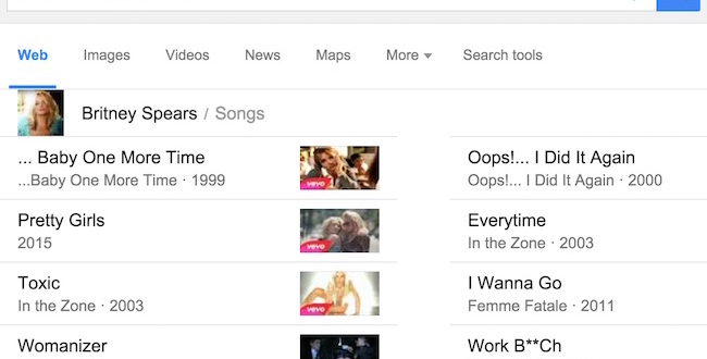 Google search for Music