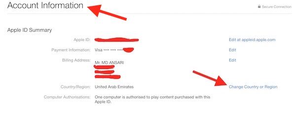 Changing Country Apple ID