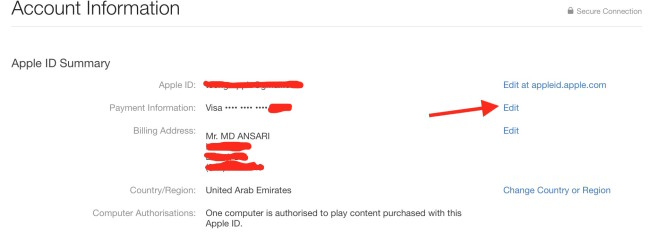 editing payment detail Apple