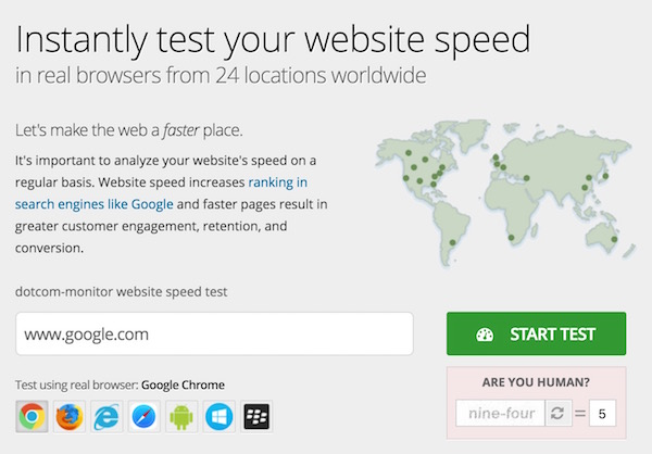 Test Website Speed for 24 location