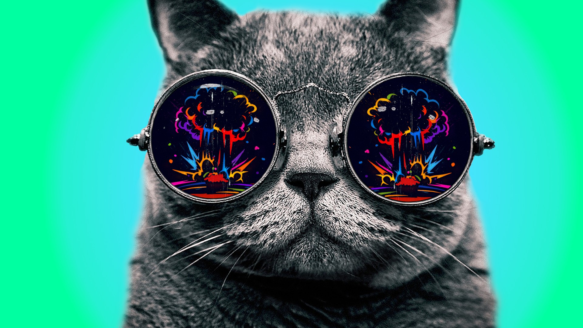 Psychedelic Wallpaper Cat Goggle