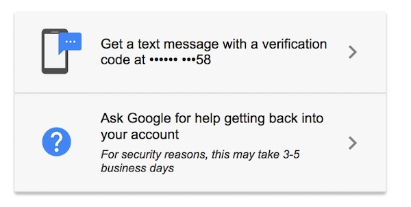 Contact Google to recover account